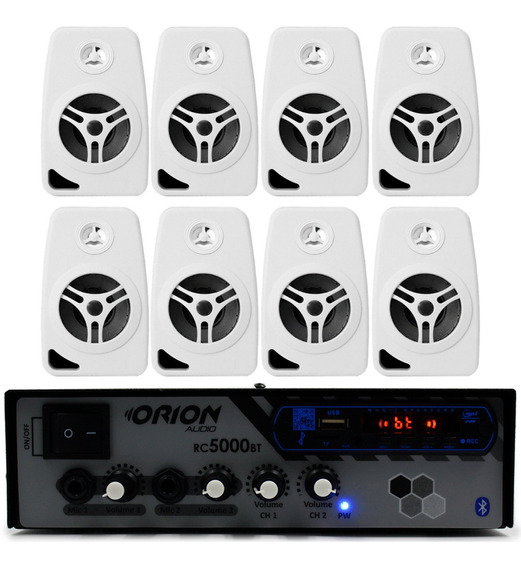 Kit Som Ambiente 300w Bluetooth Fm+ 8 Caixas 55w Orion