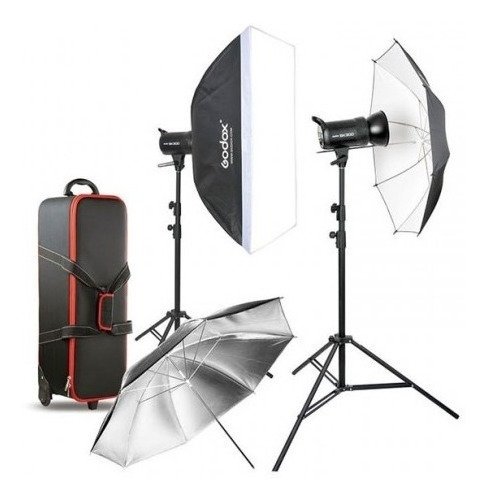 Kit Fotografia Estudio Godox Sk300-e 2 Flashes Garantia
