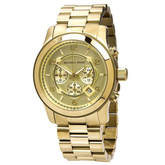 Relógio Michael Kors Mk8077 Runway Orig Chron Anal Gold