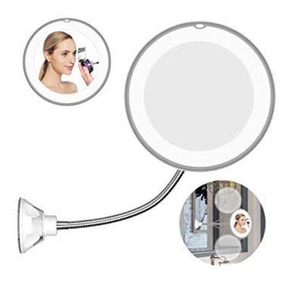 Espelho De Maquiagem Led Anti Embacante Articulado Aumento