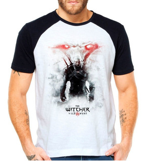 Camiseta The Witcher 3 Wild Hunt Raglan Manga Curta