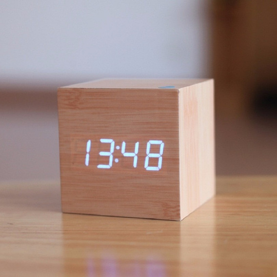 Reloj Cubo Digital Madera Despertador Led Temperatura