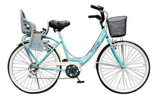 Bicicleta Vintage Dama Rod 26 Con Sillita