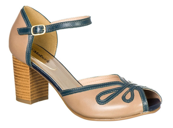 Sandália Peep Toe Retro Malbork Couro Taupe Salto 7cm 3181