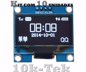 10 X Display Oled 128x64 0.96 I2c Gráfico Arduino Azul Amar.