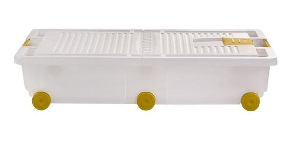 Caja Organizadora Plastica Ruedas Bajo Cama Herramientas 30l