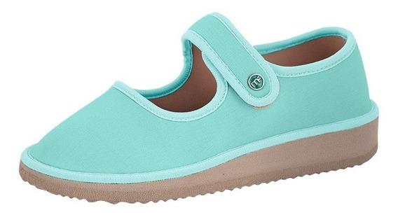 Sapato Boneca Para Esporão E Fascite Mundoflex - Verde Agua