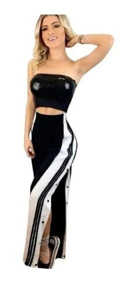 Calça Fenda Lateral Listra Botões Pantalona Moda Blogueira