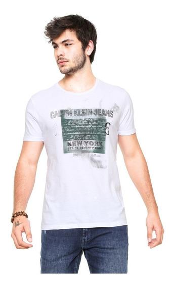 Camisa Calvin Klein Jeans Branca Tamanho G (frete Grátis)