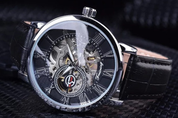 Relógio Automático Forsining.transparente Pulseira De Couro