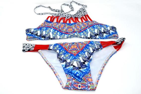 Traje De Baño Azul Con Rojo Tricolor 2 Piezas