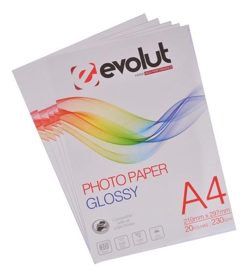Papel Fotográfico A4 Glossy 230 Gs 400 Folhas Prova D