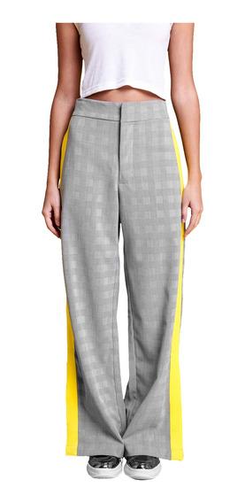 Pantalon Prince Amplio En Principe De Gales Mujer 47street