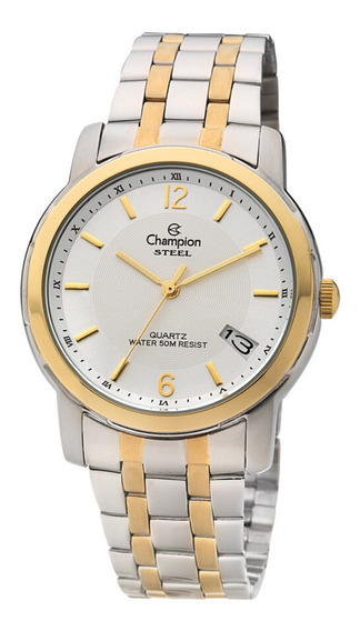 Relógio Masculino Dourado E Prata Fundo Prateado Com Data