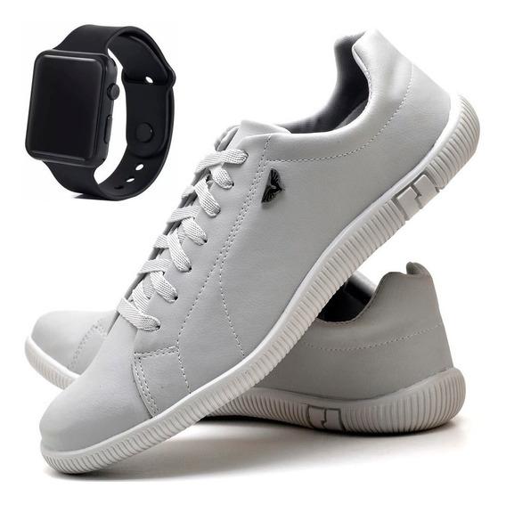 Tenis Masculino Sapatênis + Relógio Preto Digital Masculino