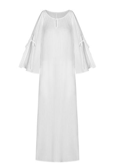 Elegante Color Puro Bohemio Vestido Maxi Plisado