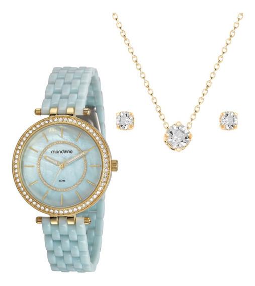 Kit Relógio Feminino Dourado Mondaine Semi Joias Original