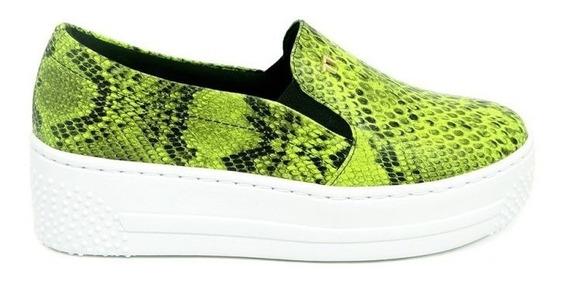 Tênis Slipper Slip On Neon Flúor Verde Limão Solado Alto