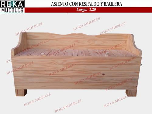 Asiento Con Respaldo Y Baulera De Madera 1.20 Pino Baul Roka