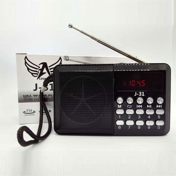 Mini Rádio Fm/usb/cartão De Memória J-31 Altomex - Preto