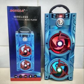 Caixa Som Bluetooth Usb Rádio Fm Microfone 2 Auto Falantes