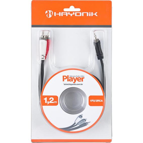 Cabo De Áudio Linha Player P2 X Rca2 1,2 M Preto Hayonik