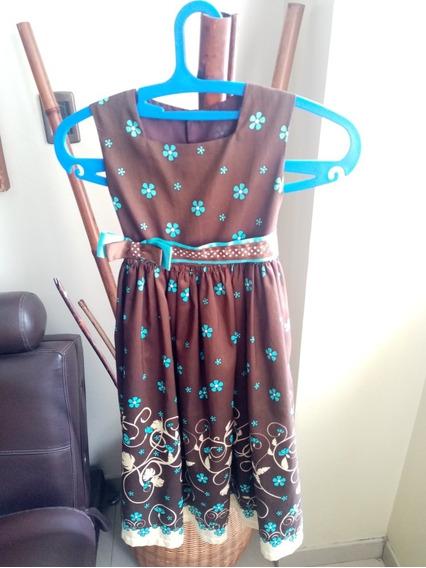 Vestido De Niña Marrón Largo 80cm