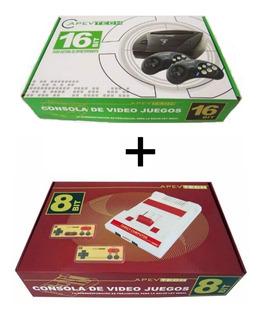 Combo Sega C/109 Juegos + Family C/114 Juegos Apevtech Once