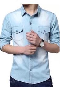 Camisa Social Jeans Slim Manga Longa Importada De Luxo 2019