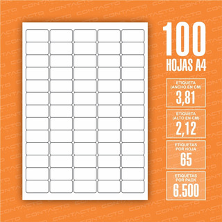 Etiquetas Autoadhesivas De 3,81 X 2,12 Cm / 100 Hojas A4