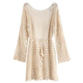 Zaful Vestido De Mangas Compridas Em Crochet