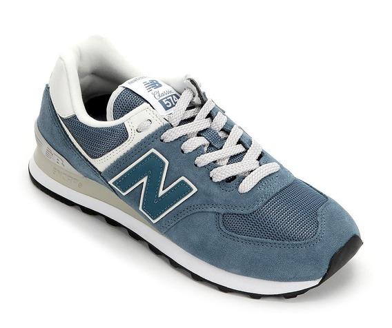 Tênis New Balance 574 Feminino - Cinza E Azul Original + Nf