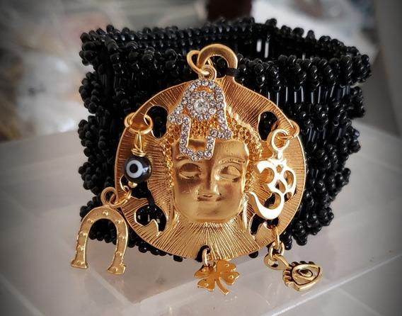 Brazalete Bordado Buda Con Amuletos Chapa De Oro