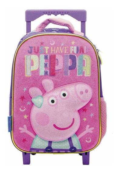 Mochila Peppa Pig 12 Pulgadas Con Carro Pp058 Original!!