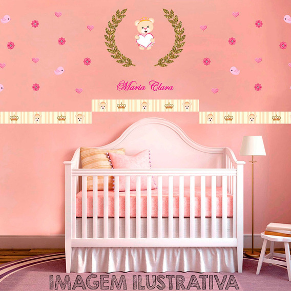 Kit Aplique Quarto Ursinha Princesa Infantil Mdf Adesivado
