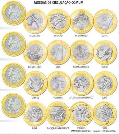 Lote Com 16 Moedas Comemorativas Olimpiadas Do Brasil 2016