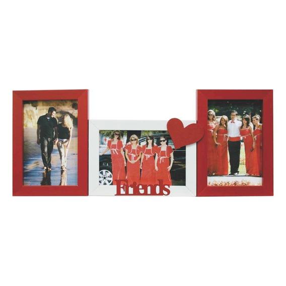 Porta-retrato Love I 3 Fotos 10x15cm Branco, Vermelho Kapos