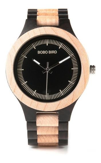 Relógio Masculino Bambu Madeira Analógico Bobo Bird Lo01