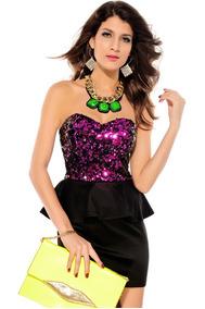 Vestido Negro Tipo Con Lentejuela Rosa Y Ruffle