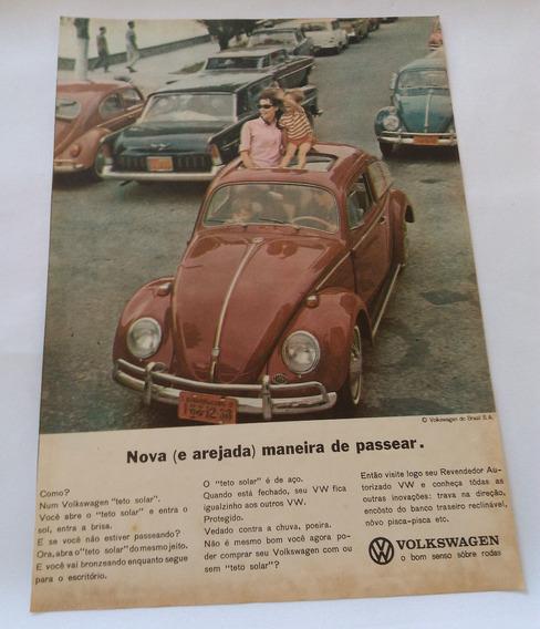 Propaganda Antiga Volkswagen Fusca Com Teto Solar