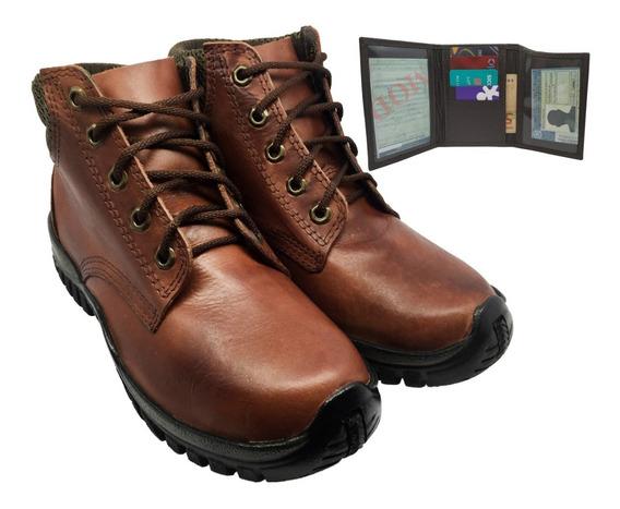 Sapato Unissex Confortavel Botina Trabalho + Carteira