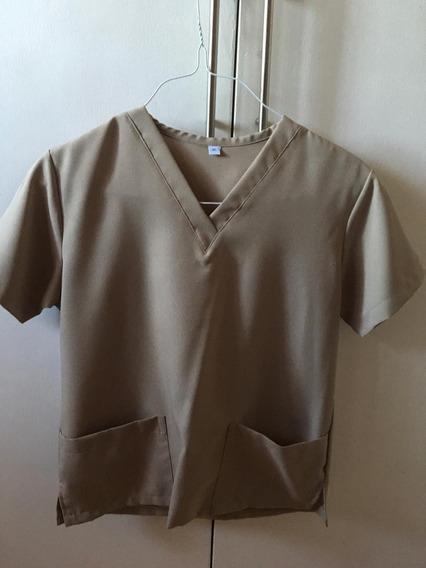 Camisa Uniforme Médico Color Beige Talla Ss (48cm Ancho)