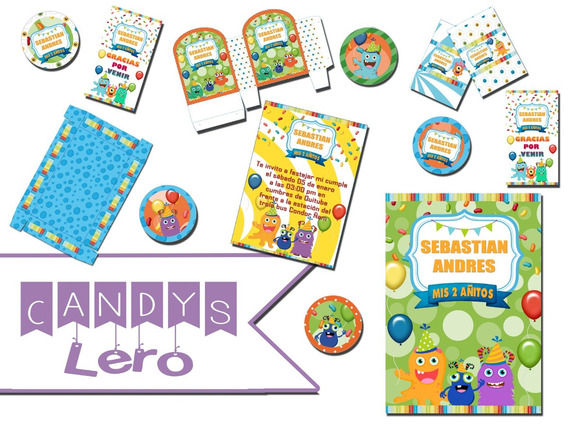 Kit Imprimible Monstruito Monstruo Candy Bar Souvenir Bolsa