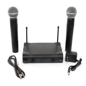 Microfone Wireless Duplo Uhf Karaoke Igrejas Kit Com 2 Prof
