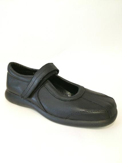 Zapatos Esolares Nena Negros Uzzo Cuero