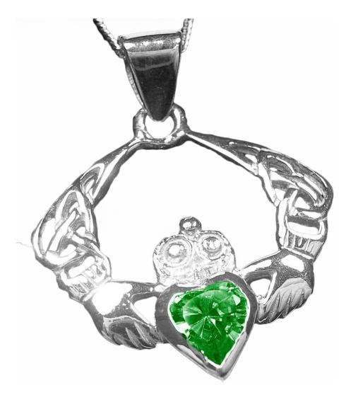 Dije Irlandes Celta Claddagh Plata 925 Esmeralda Celtic