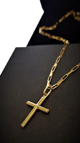 Cordão De Ouro 18k Masculino Com Pingente Crucifixo 70cm