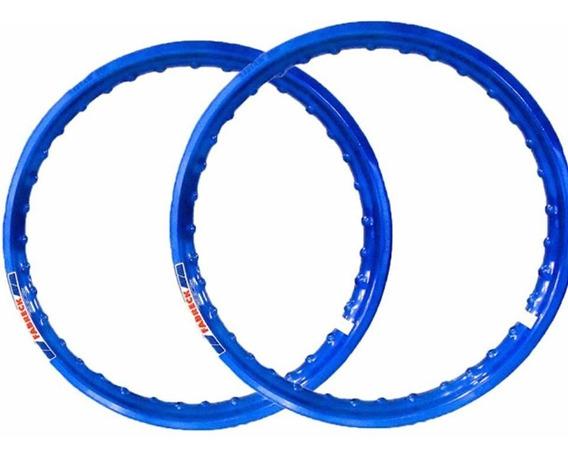 Par Aro Aluminio Azul Roda Moto Titan 125/150 Fan125/150