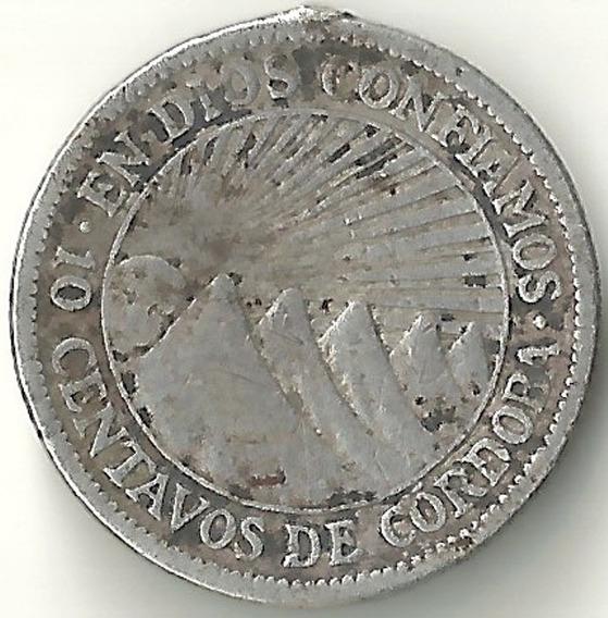 Nicaragua 1928 10 Centavos Moneda De Plata Cal 0800 L26819