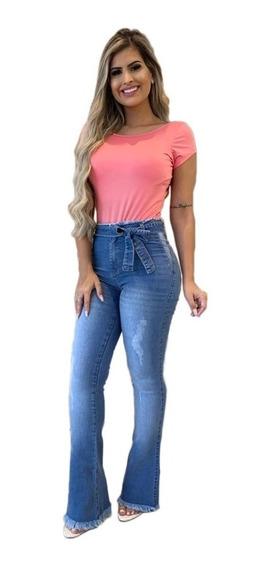 Calça Jeans Flare Feminina Com Lycra Pinça Levanta Bumbum